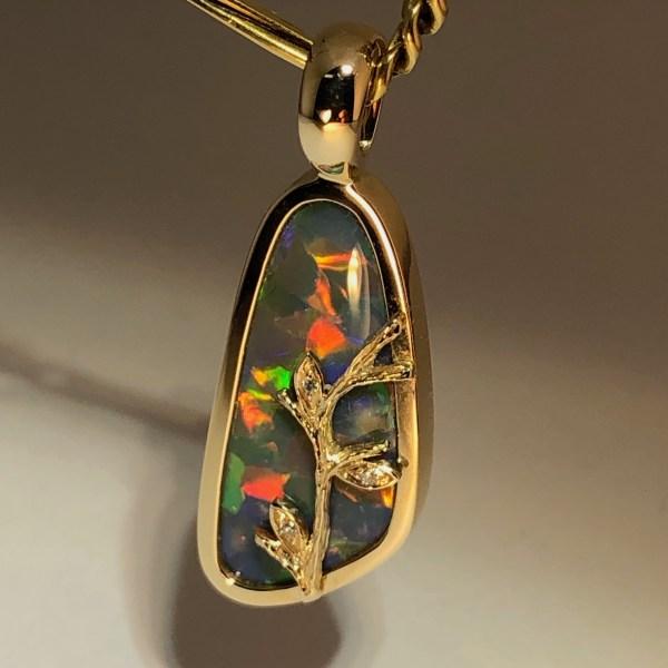 Australian Hand Made Natural Black Opal Gold Pendant j002