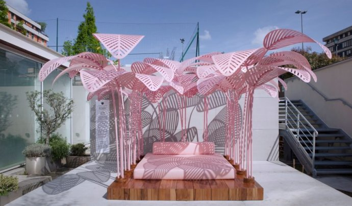 "Mark Ange's Millennial Pink ""Le Refuge"" outdoor cabana installation at the last Milan Design Week would make a suburb al fresco restaurant design setting (image sourced from Dezeen.com)"