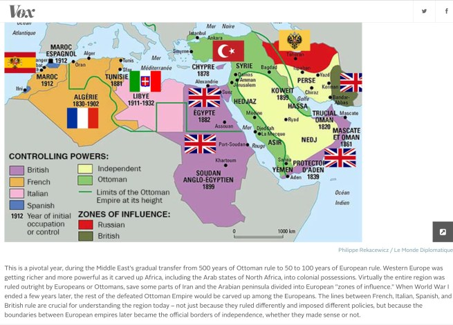 The Middle East in 1914. Source: Vox. http://bit.ly/1mf5ymr