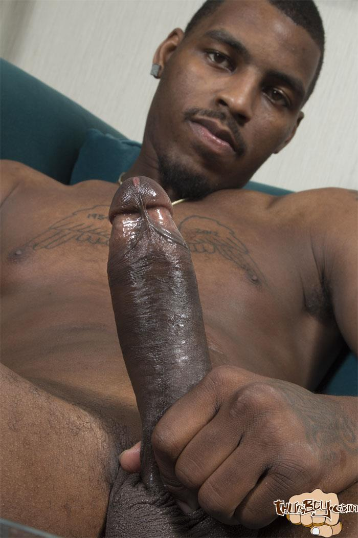 Thug Boy Tyrelle Strokes His Big Black Uncut Cock