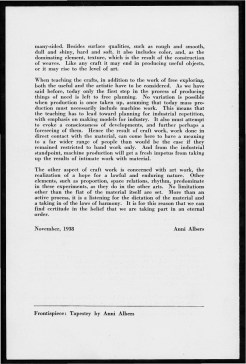 """#4 No. 5, 1938 - """"Work with Material"""" Black Mountain College Bulletin. Courtesy of Western Regional Archives."""