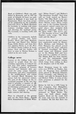 #5 Vol. I, No. 2. - 01.1943 Black Mountain College Bulletin that argues the value of a broad liberal arts education, such as the one provided by Black Mountain College, to solders and others during World War II. Other subjects include: a discussion at the college led by visiting author Alfred Kazin; a discussion led by W. A. Robinson, director of the Secondary School Study of the Association of Colleges and Secondary Schools for Negroes, on education for African Americans; faculty appointments; the future of world culture as outlined by Herbert Miller; children in the college community; the role of the college in the surrounding community; radio programs via WWNC; the building of the Quiet House; upcoming plays, concerts, and other events at the college; general campus news and news from alumni of the college. Released by Emily R. Wood. Courtesy the North Carolina State Archive