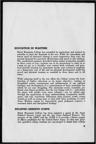 Black Mountain College Announcements, 1942-1943 Original bulletin that describes scholarships, previsions for students from Enlisted Reserve Corps, changes in curriculum due to the war, the work program, and lists of college fees. Printed commercially. Released by Nell Goldsmith Heyns. Courtesy the North Carolina State Archive
