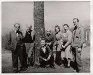 Faculty meeting at Black Mountain College, Blue Ridge campus. Left to right: Robert Wunsch, Josef Albers, Heinrich Jalowetz, Theodore Dreier, Erwin Straus, unknown, Lawrence Kocher. Courtesy of Western Regional Archives.