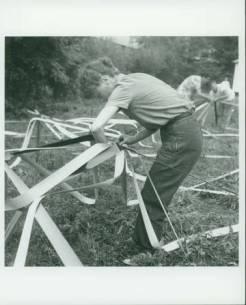Elaine de Kooning and Buckminster Fuller's Venetian Blind Stripe Dome, 1948 Summer Session in the Arts, Black Mountain College. Photographer: Trude Guermonprez. Courtesy of Western Regional Archives.