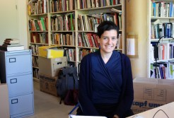 Anna Schapiro, Project Coordinator, at Arnold Dreyblatt's studio in Berlin.