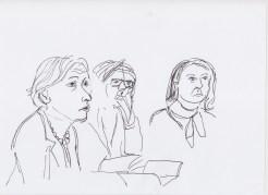 Panel with Gabriele Knapstein, Patrick Müller, Nina Möntmann drawn by Nikolaus Baumgarten.