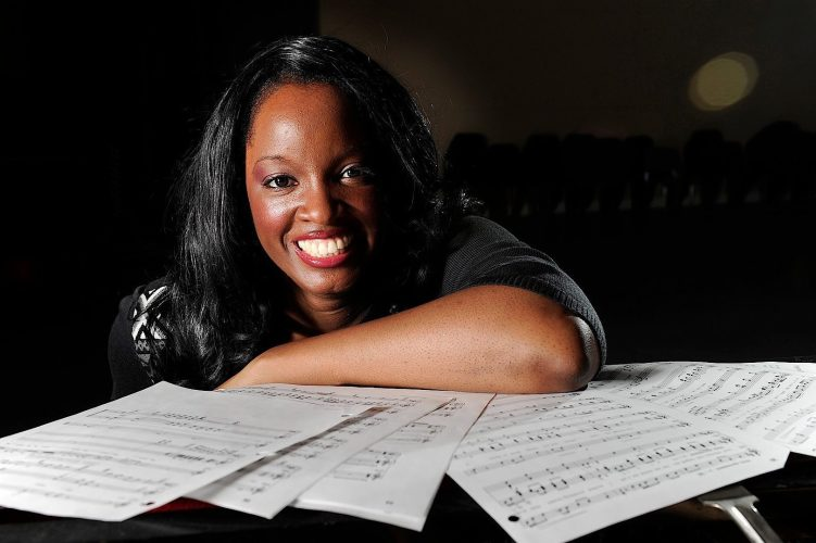 Uniondale, NY - Wednesday Jan. 25, 2012 - Newsday/ J. Conrad Williams Jr.:  Hofstra University music professor and composer Nkeiru Okoye preparing for her opera Ride on the Undergorund Railroad Wedneday Jan 25, in a rehearsal room at Hofstra U. in Uniondale.  Newsday/ J. Conrad Williams Jr.