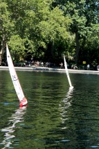 Sails creating such sharp lines, that blur into squiggles in the water