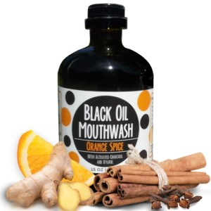Black Oil Mouthwash 15 oz. Glass Bottle, Sweet Orange Spice