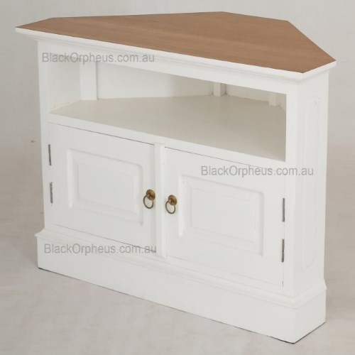 TV Cabinet Corner White  Black Orpheus