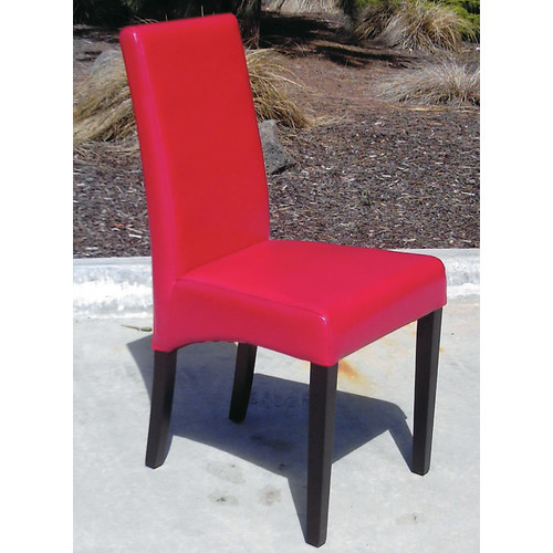 Dining Chair Red Leather  Black Orpheus