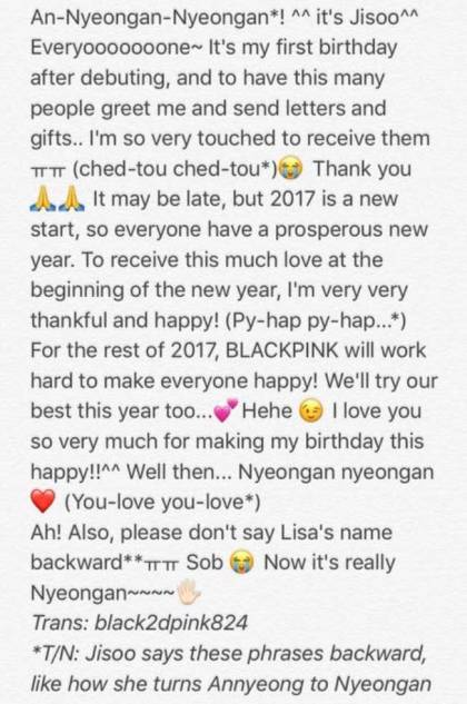 English Translation of Blackpink Jisoo Birthday Letter