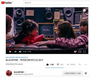 Blackpink-Whistle-200-million-youtube-views