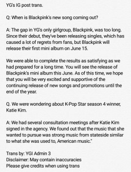 BLACKPINK COMEBACK 15 JUNE 2018 ENGLISH TRANS