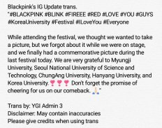 blackpink Korea university festival ipselenti 2018 photo instagram english trans