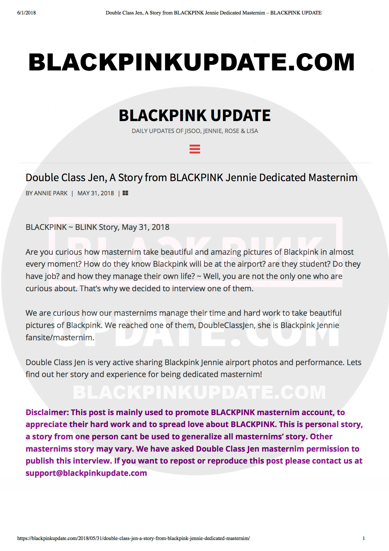 Double Class Jen, A Story from BLACKPINK Jennie Dedicated Masternim