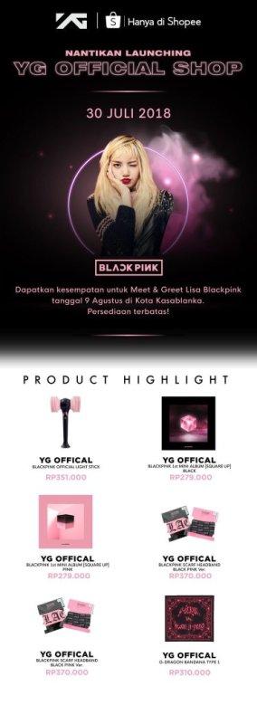 BLACKPINK Lisa meet greet YG shop Indonesia shopee