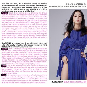 English Translation BLACKPINK Interview Cosmopolitan Korea Magazine August 2018 Issue Page 4