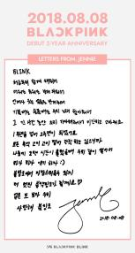 BLACKPINK Jennie letter 2 years anniversary ch+