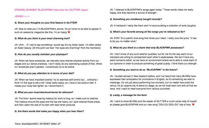 2-English Translation BLACKPINK Jennie GLITTER Magazine Japan Interview