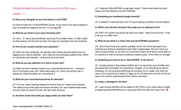 2-English Translation BLACKPINK Jennie GLITTER Magazine Japan Interview