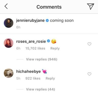 Jennie solo teaser on Jennie Official Instagram. Rosé liked and commented ' 😘'
