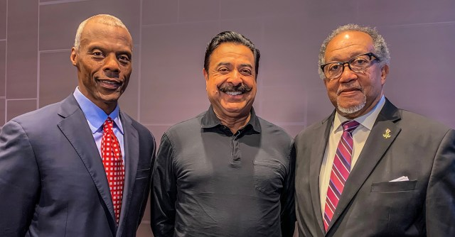 NNPA President and CEO Dr. Benjamin F. Chavis, Jr. (pictured at right), who participated in the teleconference, said the NNPA's partnership with the BNC is a profound win-win for Black America. (Also pictured are Former Republican U.S. Congressman J.C. Watts, chairman of BNC (left) and Jacksonville Jaguars owner, Shad Khan, who is a primary investor in the new network (center).
