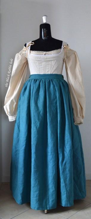 linen blue skirt