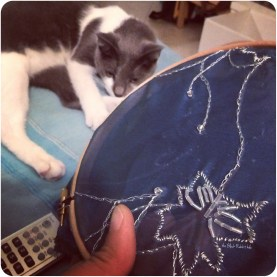 embroidery with Freyja