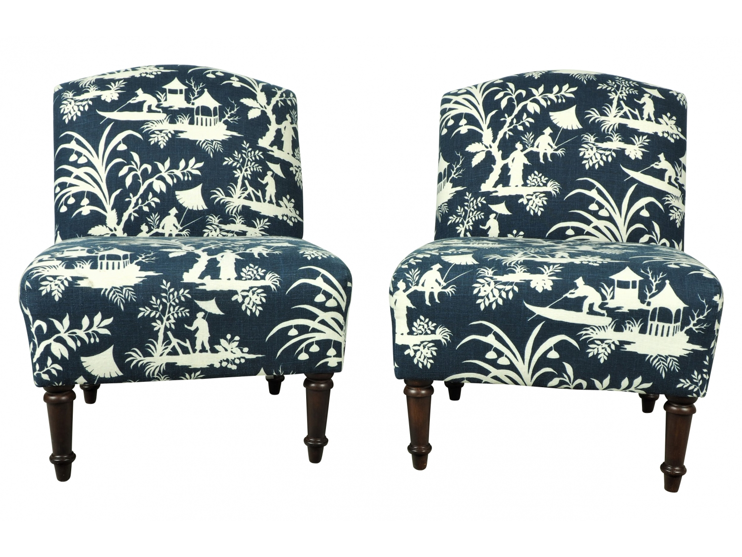 Toile Chair Pair Upholstered Toile Chairs By Skyline Furniture Black