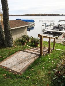 Paver stairs going down to lakeshore