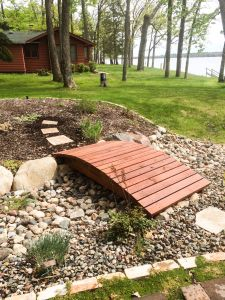 dry creek bed built within landscaping