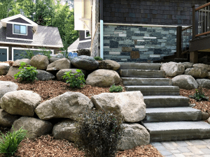 Boulder Stairs and Shrubs