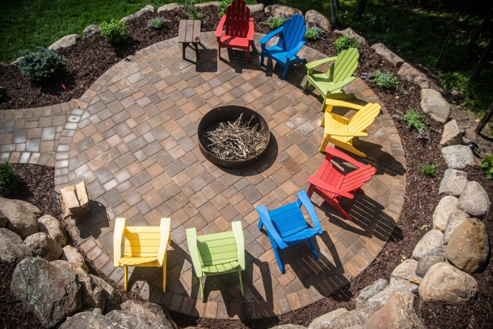 Custom paver patio with fire pit