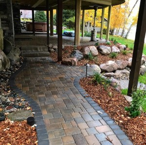 Paver walkway landscaping in Nisswa MN