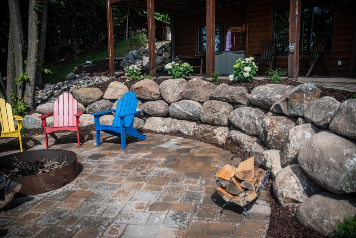 Paver patio with custom fire pit