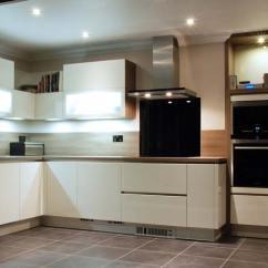 Kitchen Wall Shelving Units Bay Windows White Handle-less With Grey Acacia — Ringmer