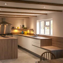 Height Of Kitchen Bench How To Design The Handleless White Satin Lacquer With Stone Oak Worktops ...