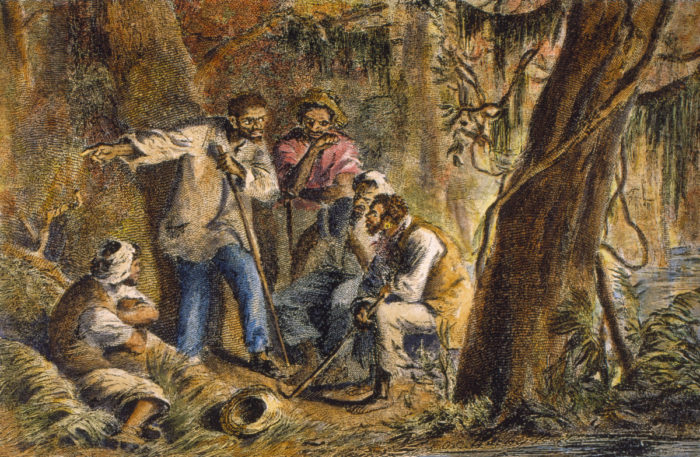 Painting portraying Nat Turner and fellow slaves planning rebellion.
