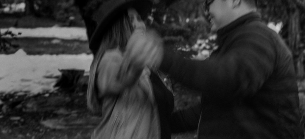 Blurry black and white portrait of couple dancing Moody Las Vegas Elopement