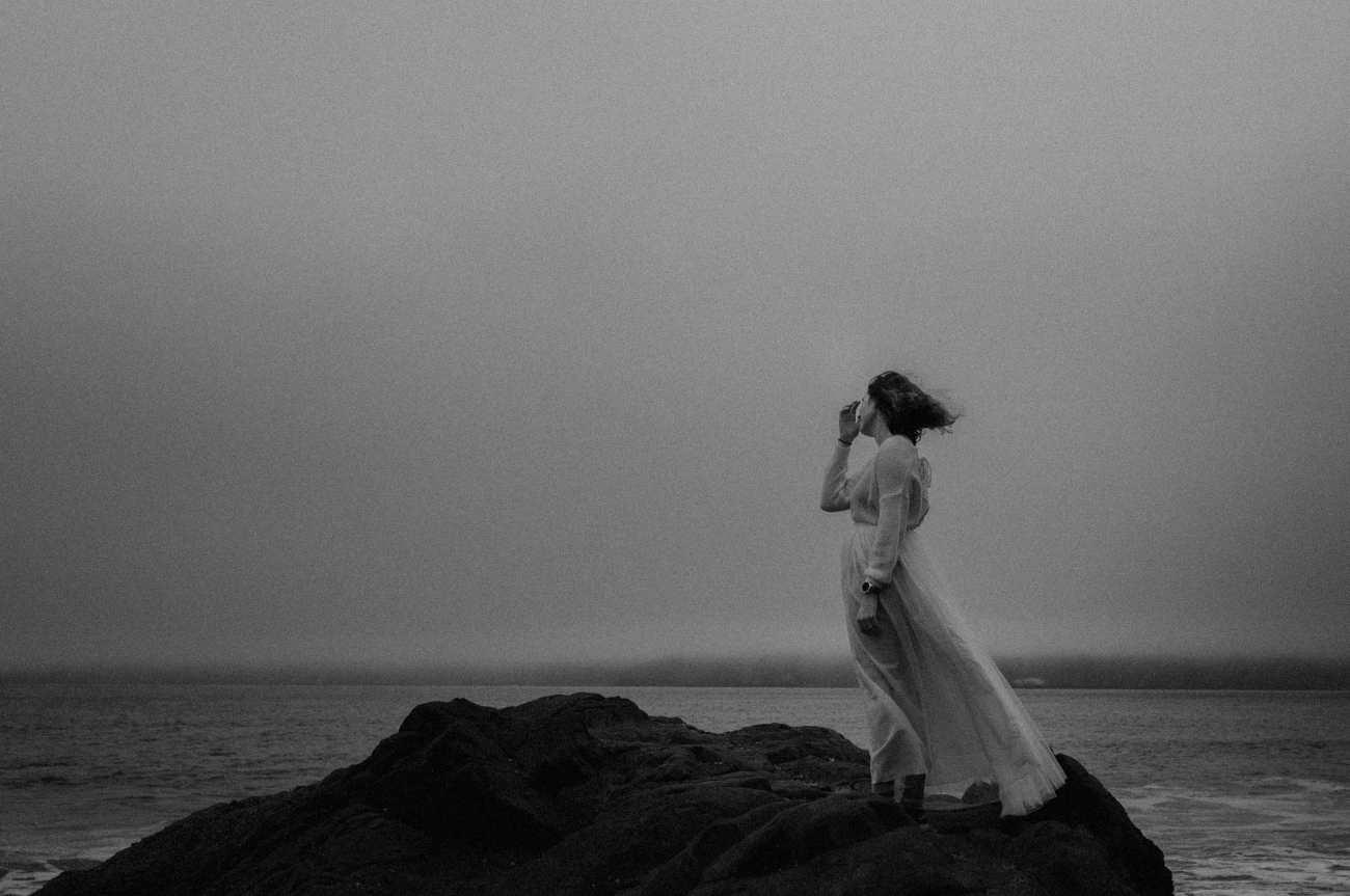 Early foggy morning at Baker Beach San Francisco bridal portraits