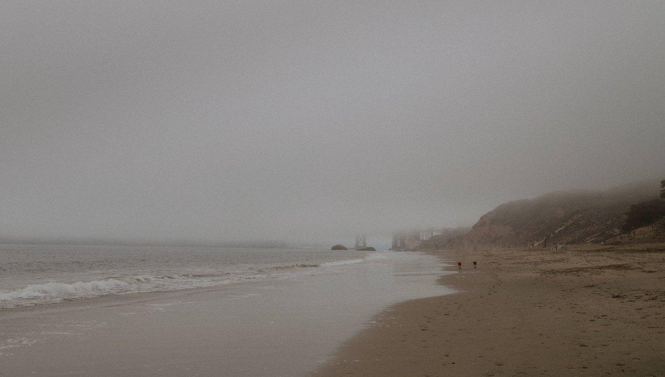 Early foggy morning at Baker Beach San Francisco