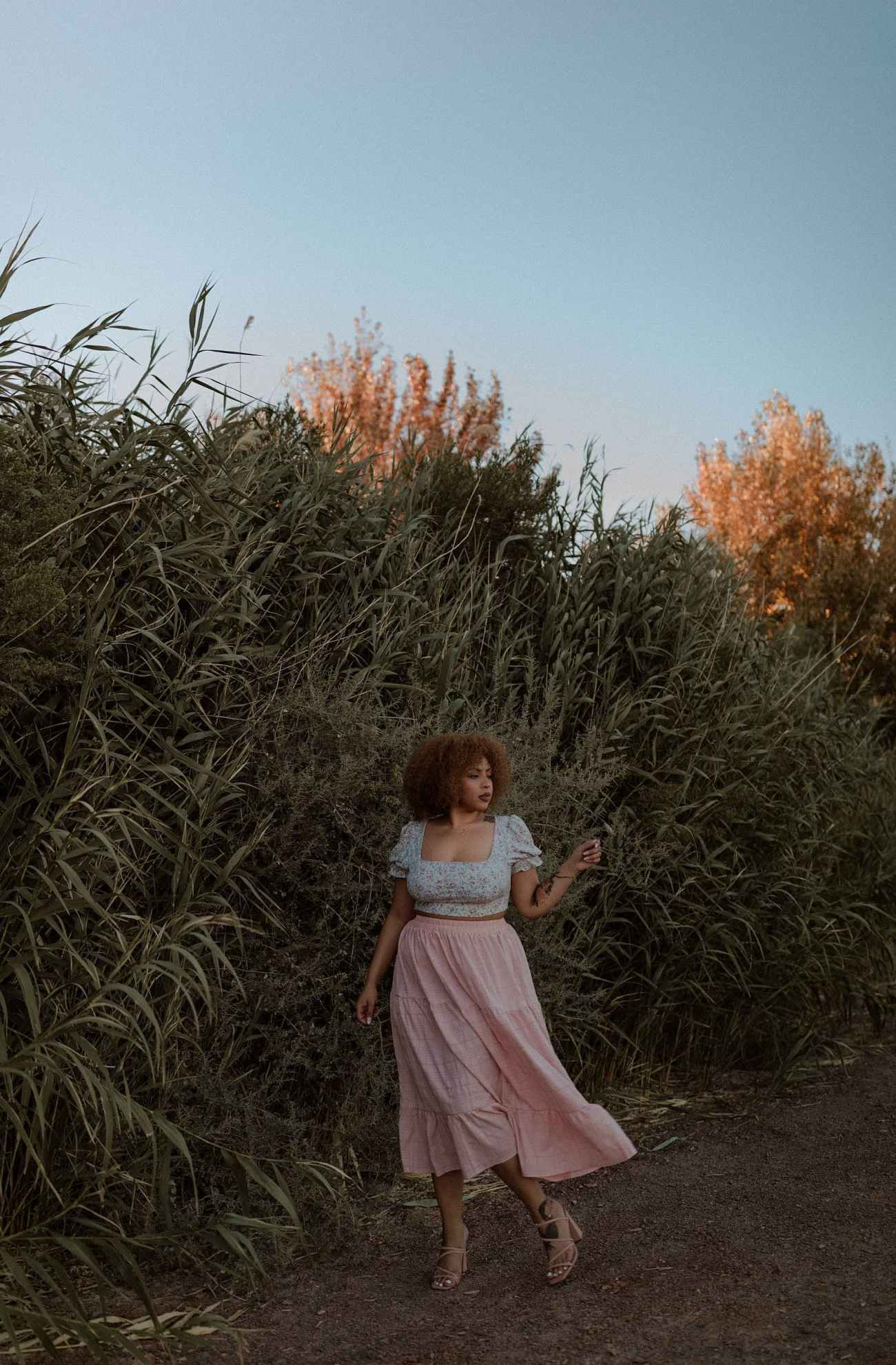 Moody portrait session at sunset at Las Vegas Wetlands