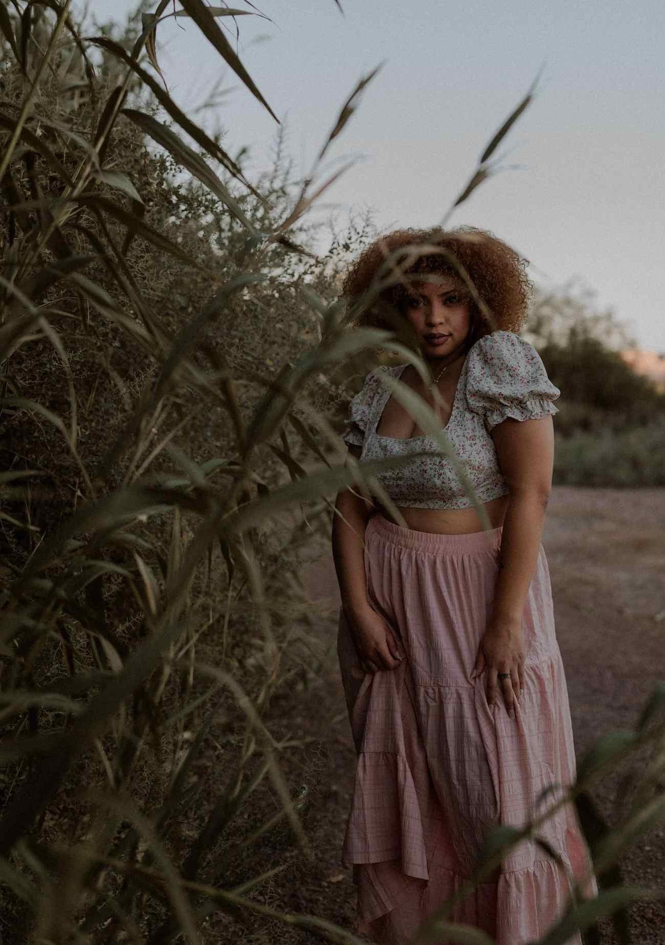 Las Vegas Wetlands Sunset portraits with BIPOC model in pink skirt
