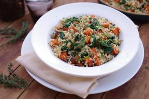 Brown Rice Pilaf with Sweet Potato and Spinach