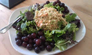 chickpea salad on bread for sandwich or served over lettuce