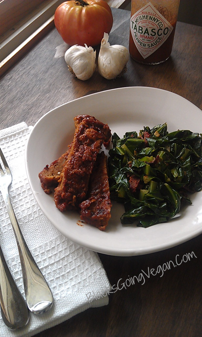 spicy vegan collard greens and seitan barbecue ribz