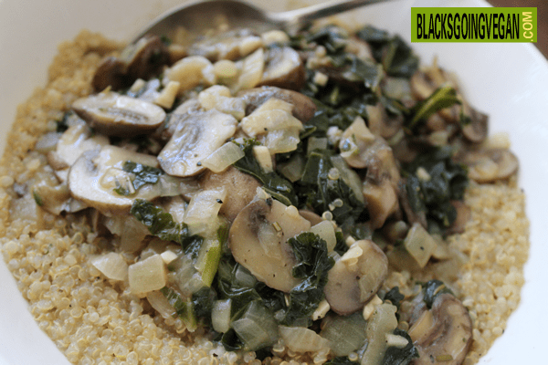 sauteed mushrooms and kale over quinoa
