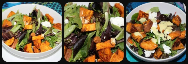 Almond goat cheese and sweet potato salad